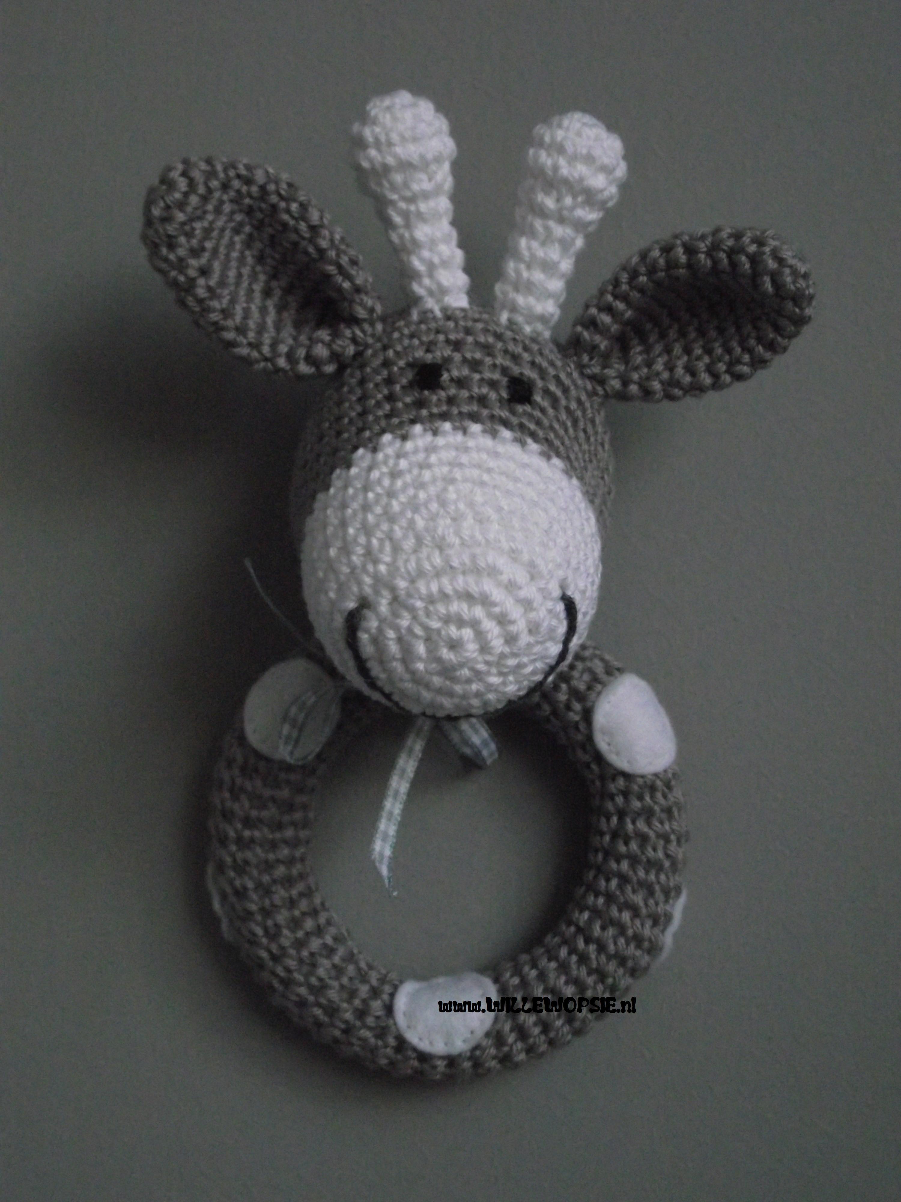 Gehaakte Giraffe Rammelaar Haken Crochet Crochet Baby En