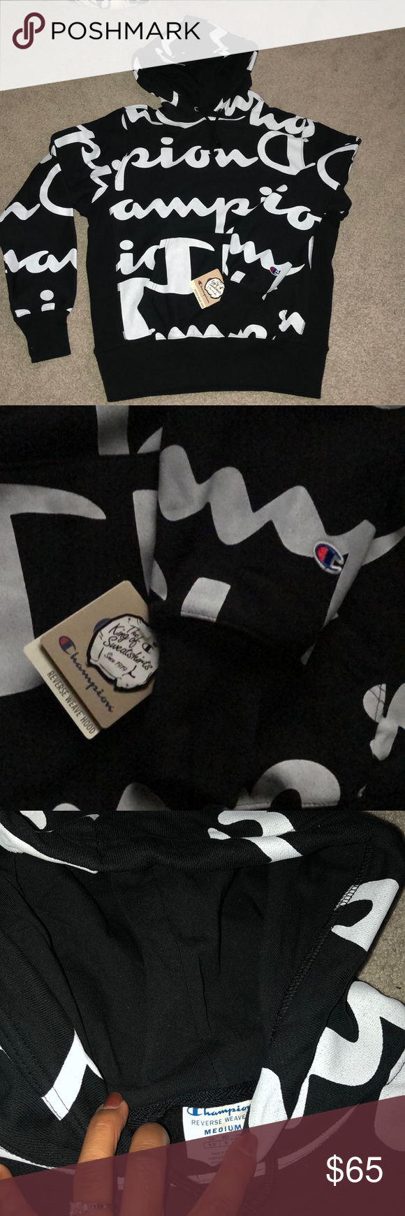 nwt champion hoodie ready to ship  size medium  black with white writing  i have other items bundle up for a deal !!! Champion Sweaters #championhoodie