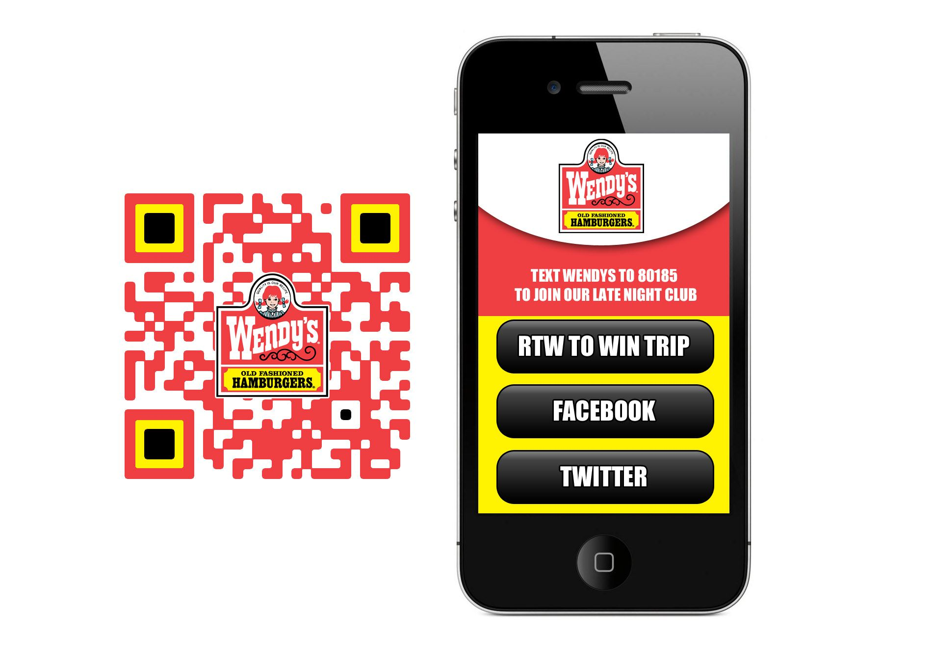 Custom QR Code for Wendy's Mobile marketing, Messages