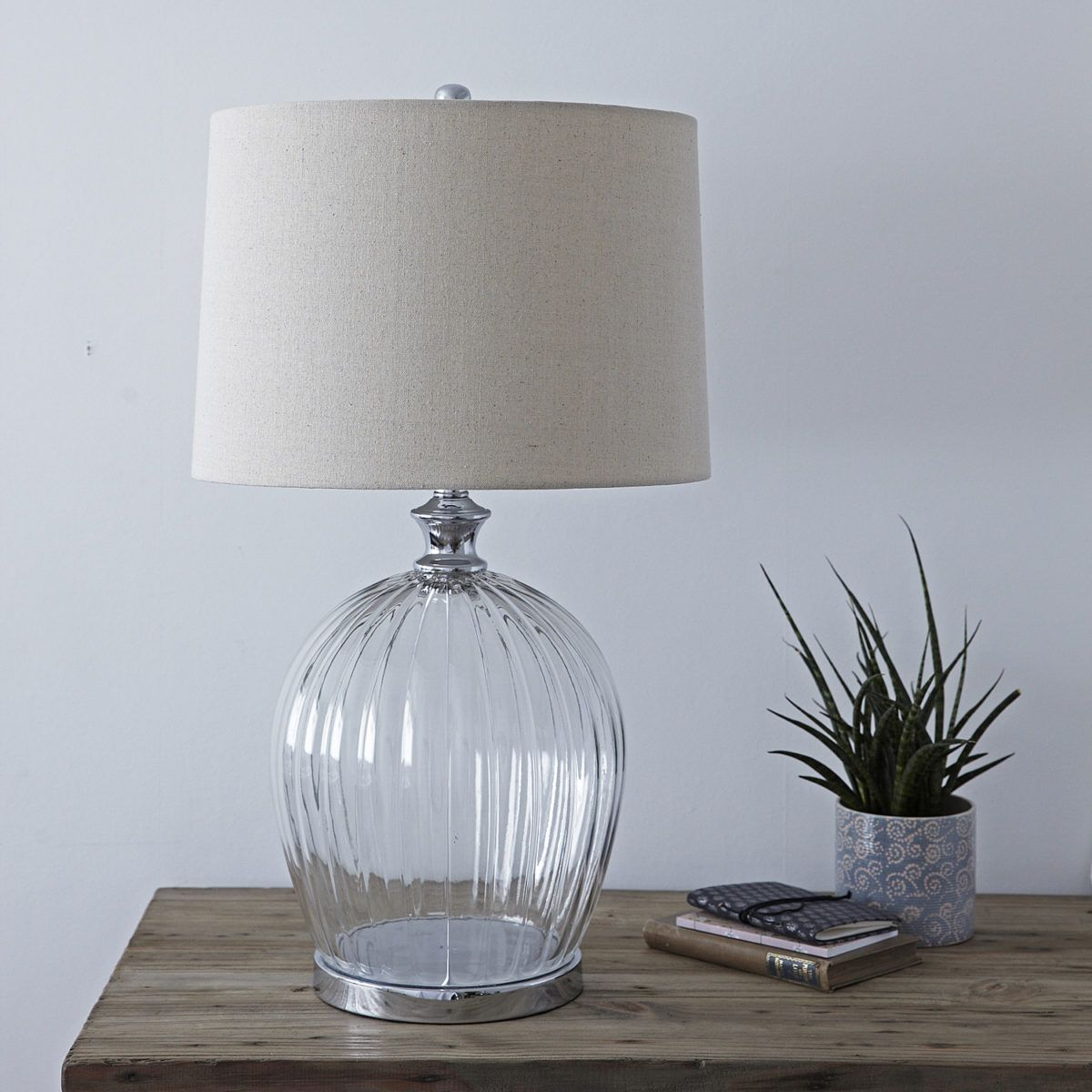 Ribbed Glass Table Lamp With Natural Shade With Images Glass