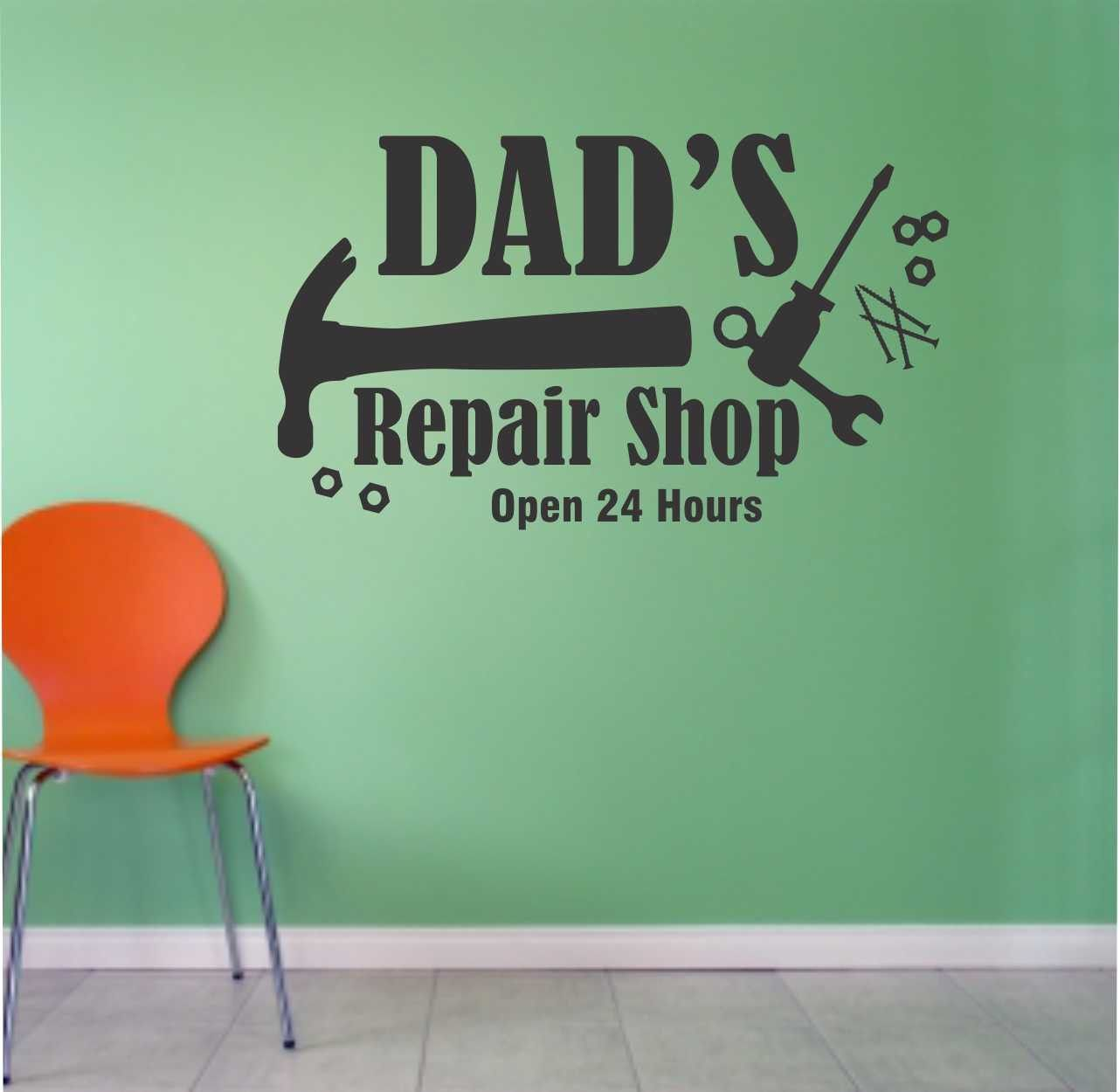 Dads Repair Shop Decal Garage Sign Quote Vinyl Wall Lettering - Custom vinyl wall decals for garage