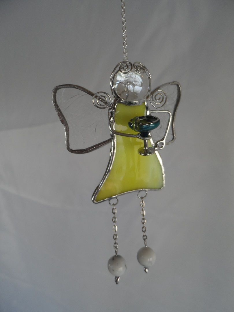 Stained Glass Fairy holding a margerita glass Hanger, at Jitter Beans Mineral Wells, Texas