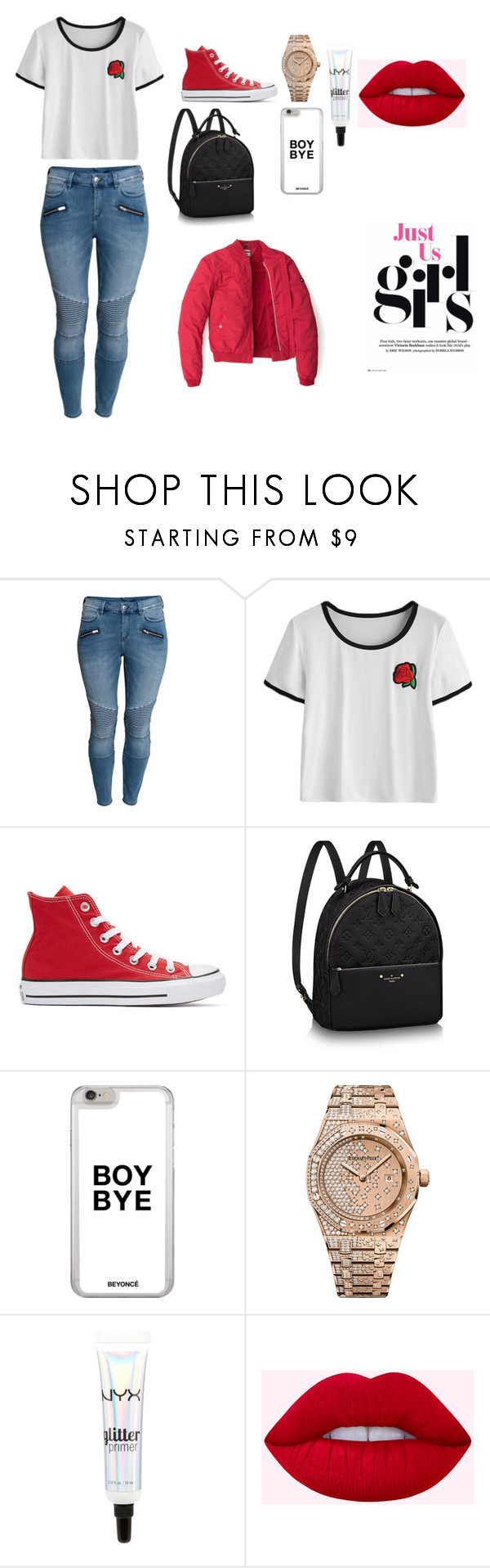 """summer outfit #1"" by arie2003 on Polyvore featuring H&M, Converse, Audemars Piguet, NYX and Tommy Hilfiger"