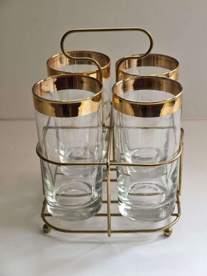 582f55f7816 Vintage Gold Rimmed Drinking Glasses   Caddy - Glassware   Caddy ...