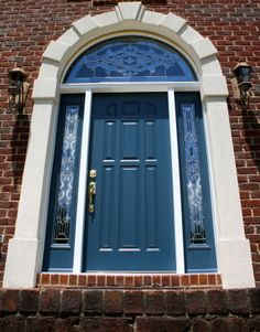 Colored Front Doors Like This Blue One Are A Hot Trend For 2016 Entry Doors Fiberglass Exterior Doors Entry Doors With Glass