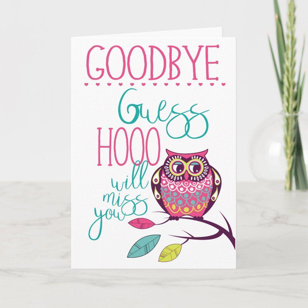 goodbye funny farewell owl card  zazzle in 2020  owl