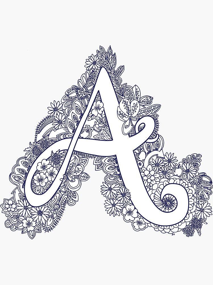 letter a monogram doodle inked sticker in 2020