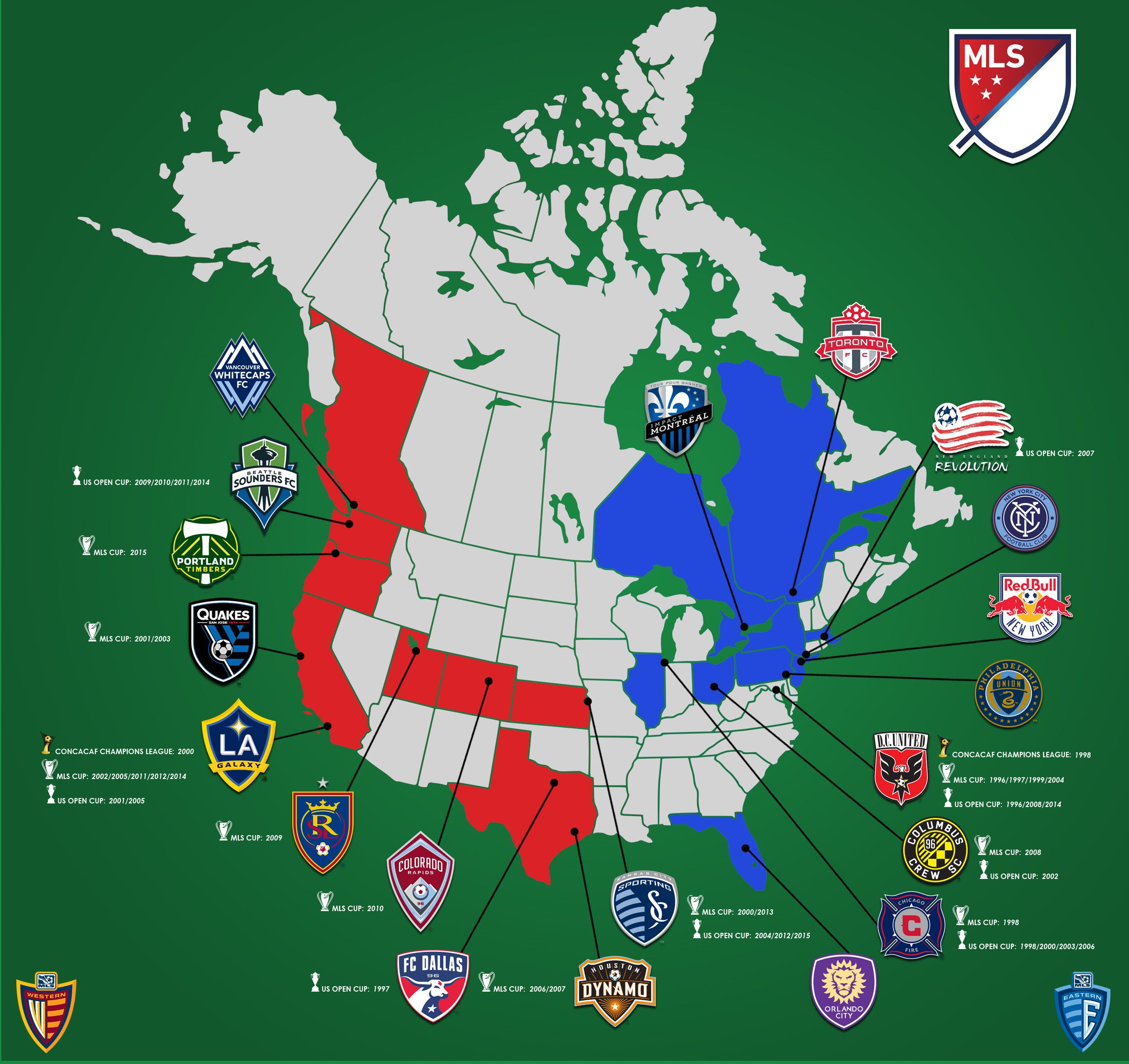 Mls Canada Map Made this MLS map. Enjoy   soccer http://i.imgur.com/wwbcJR7.