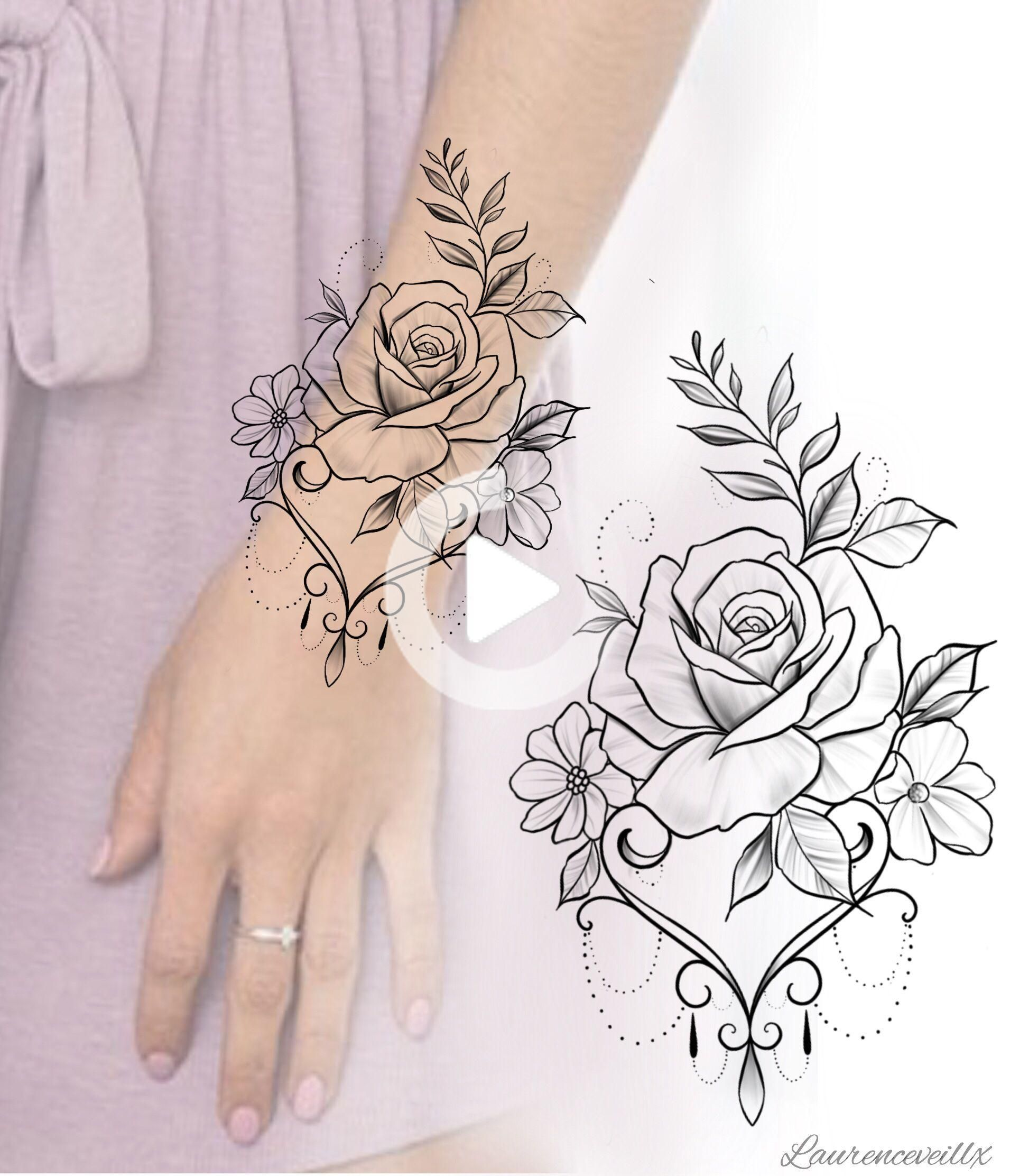 Flower Rose Tattoo Design Available For Instant Download Etsy Laurenceveillx Alaurenceveillx In 2020 Rose Tattoo Design Hand Tattoos Tattoo Designs