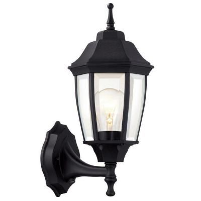 Hampton Bay 1 Light Black Dusk To Dawn Outdoor Wall Lantern Sconce