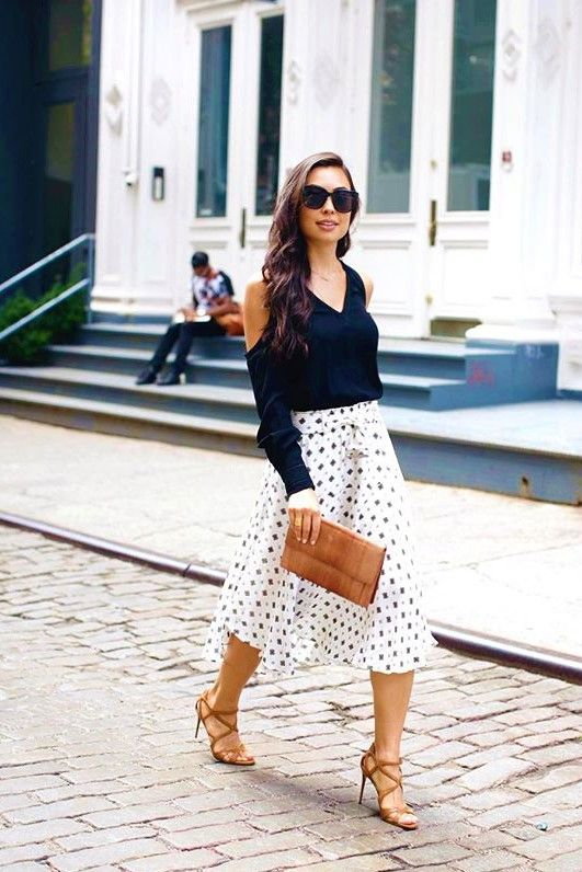 336832dcd73 Love this outfit! Fashion Blogger Kat Tanita wearing a black a cold-shoulder  top