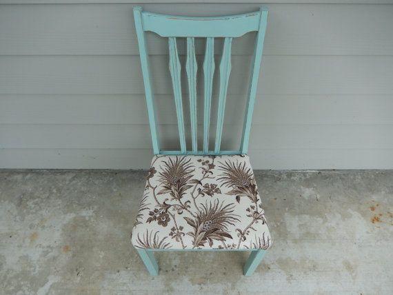Shabby Desk Chair   Shabby Vanity Chair   Light Blue Chair   Vintage Desk  Chair