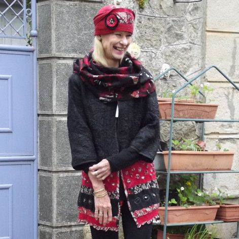 OOAK Nuno Felt Black and Red Coat by MerrillyEllen on Etsy, $260.00