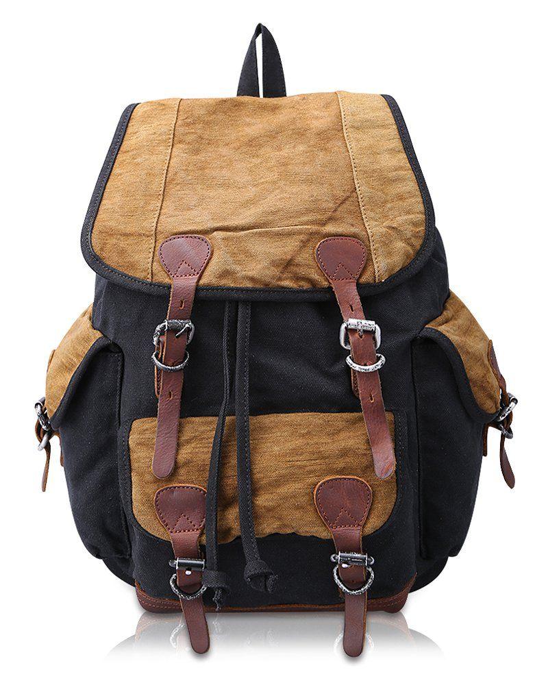 3521fcae38 Amazon.com  Kattee Canvas Leather Backpack School bag Hiking Travel Rucksack  Black  Clothing