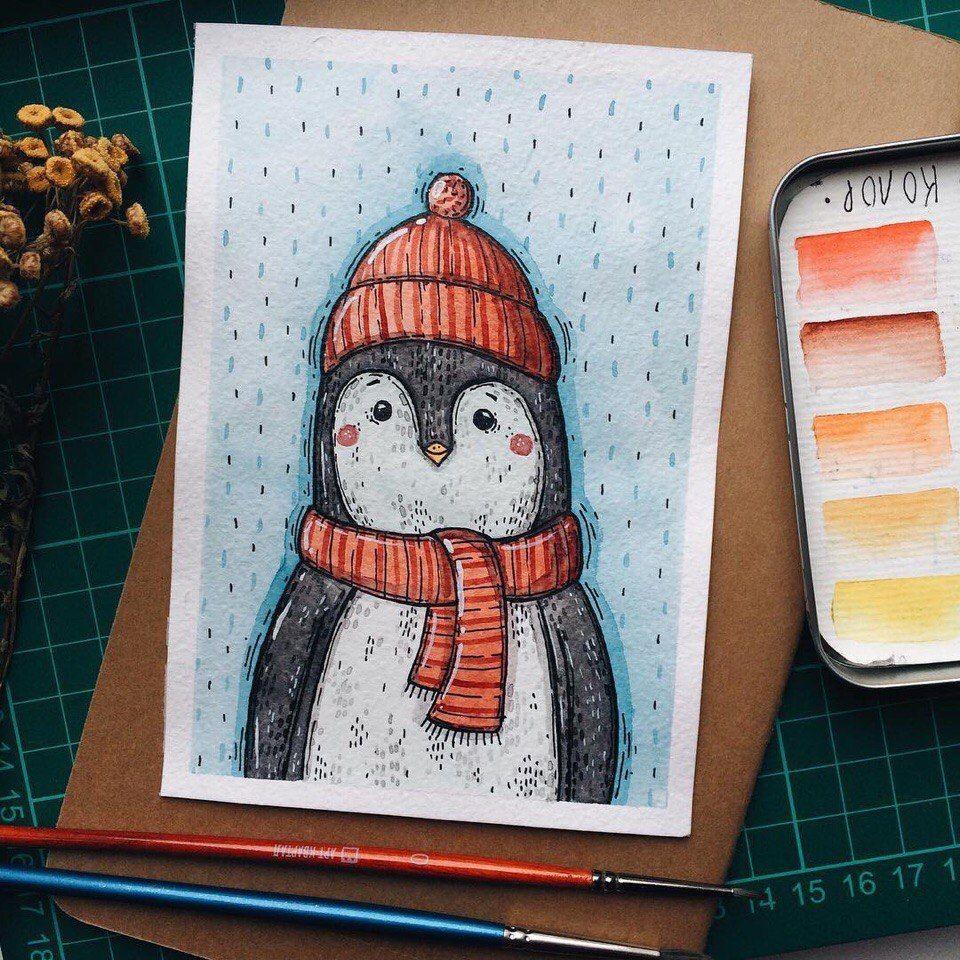 красивые зимние рисунки для скетчбука существует