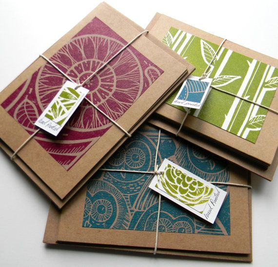 Assorted pack of Four Hand Printed Lino Cut Blank by mangleprints, £8.00