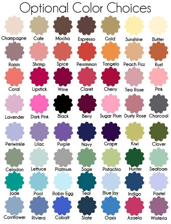 Color Chart just a sample Color options are endless - sample general color chart