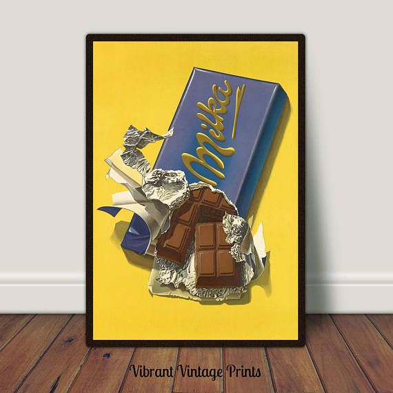Chocolate Candy Bar Kitchen Wall Art Food Vintage | Vintage Poster ...