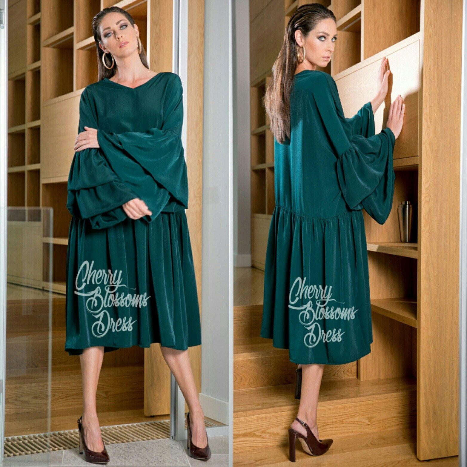 Green maxi dress ruffle dress fall maxi dress elegant dress