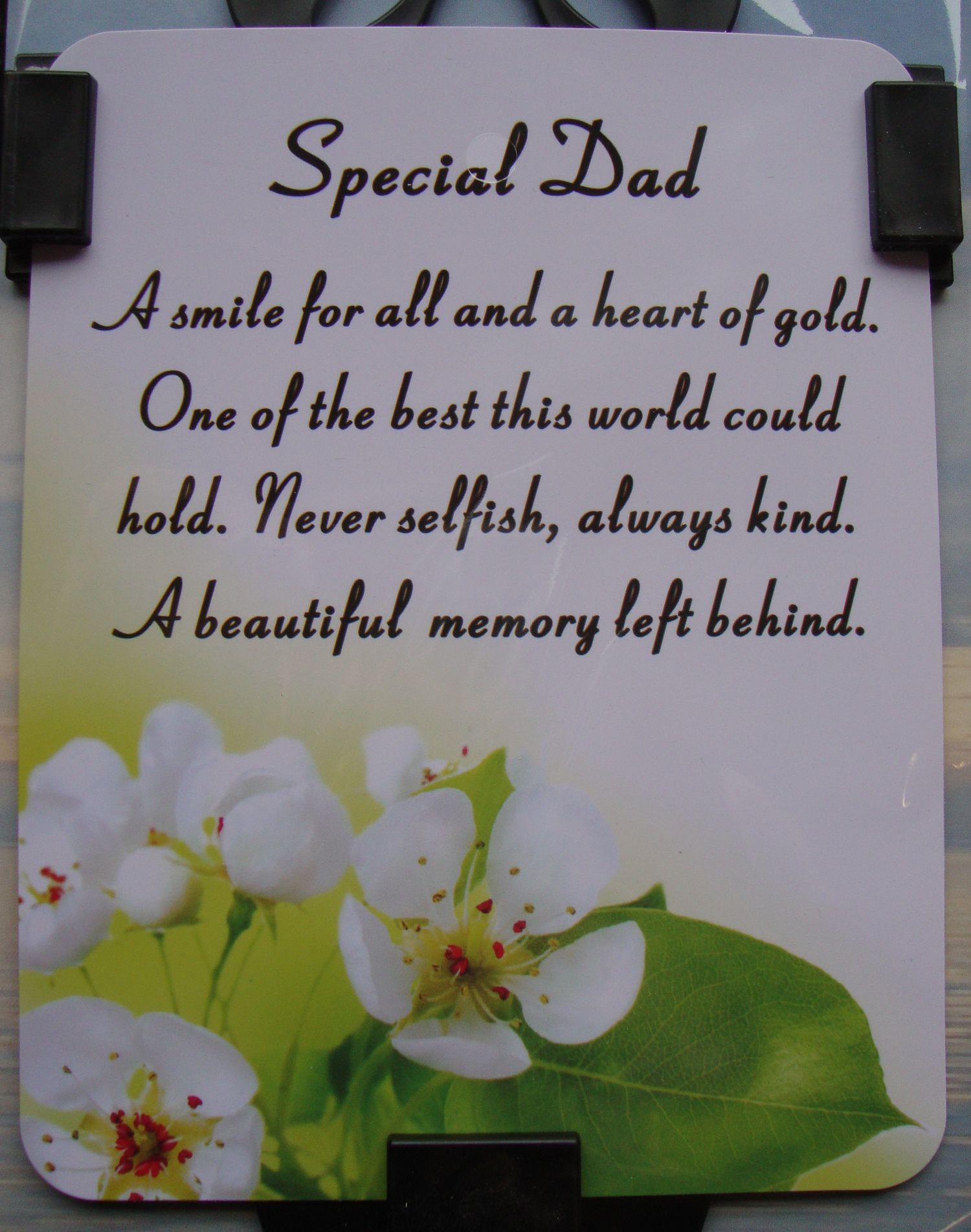 Memorial Verses for Dad Waterproof Graveside Card Dad