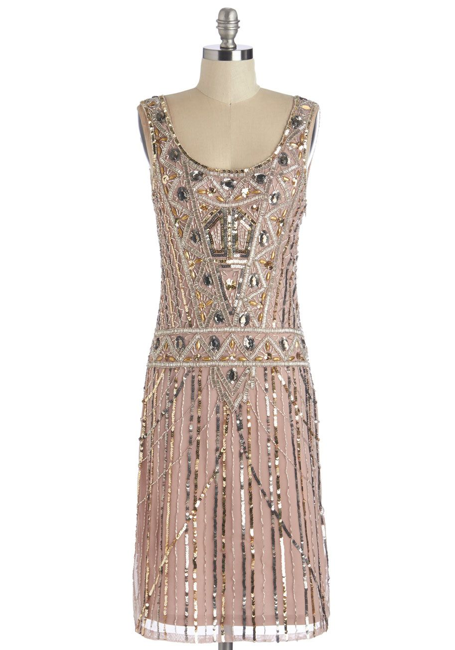 0dac1687c5db Extravagant Evening Dress - Long, Blush, Silver, Gold, Beads, Sequins,  Special Occasion, Party, Holiday Party, Vintage Inspired, 20s, Shift,  Sleeveless, ...
