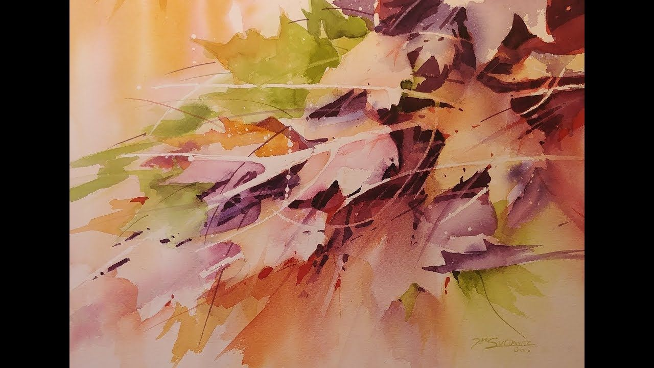 Fall Foliage Transparent Watercolor Demonstration Negative