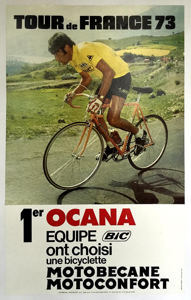 424ba8b83 1973 Tour De France - Ocana - Bic - Motobecane Vintage Bicycle Poster Poster