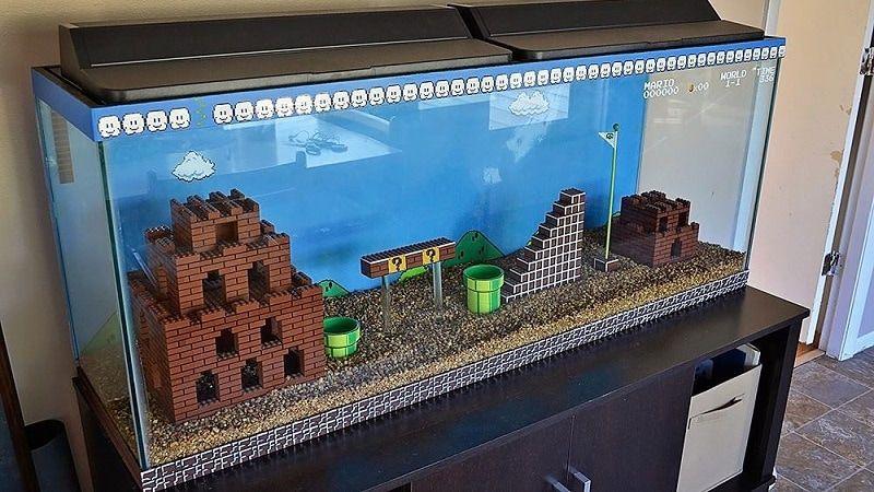 Awesome Super Mario Themed Fish Tank Background Is Flat Out Amazing Lego Super Mario Lego Decorations Used Legos