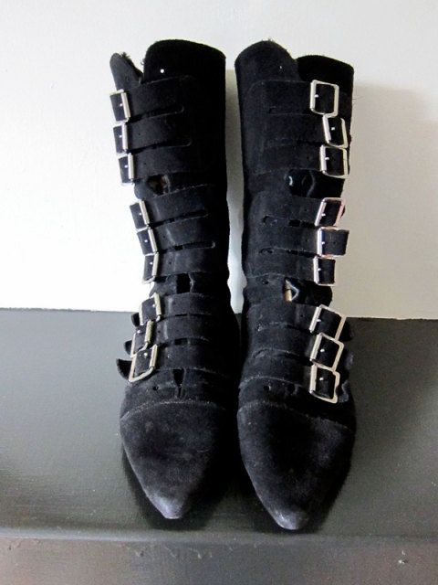 1ba097e0635c0 Black Suede 80's Goth Buckle Boots Size 8.5   Things I need.   Goth ...