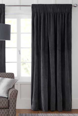 Charcoal Grey Soft Velour Pencil Pleat Curtains