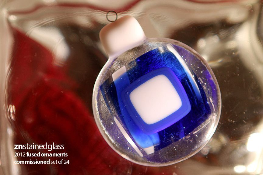 2012 fused glass ornaments  blue & white  series of 24  (commissioned work)  https://www.facebook.com/pages/ZN-Stained-Glass/41146722975
