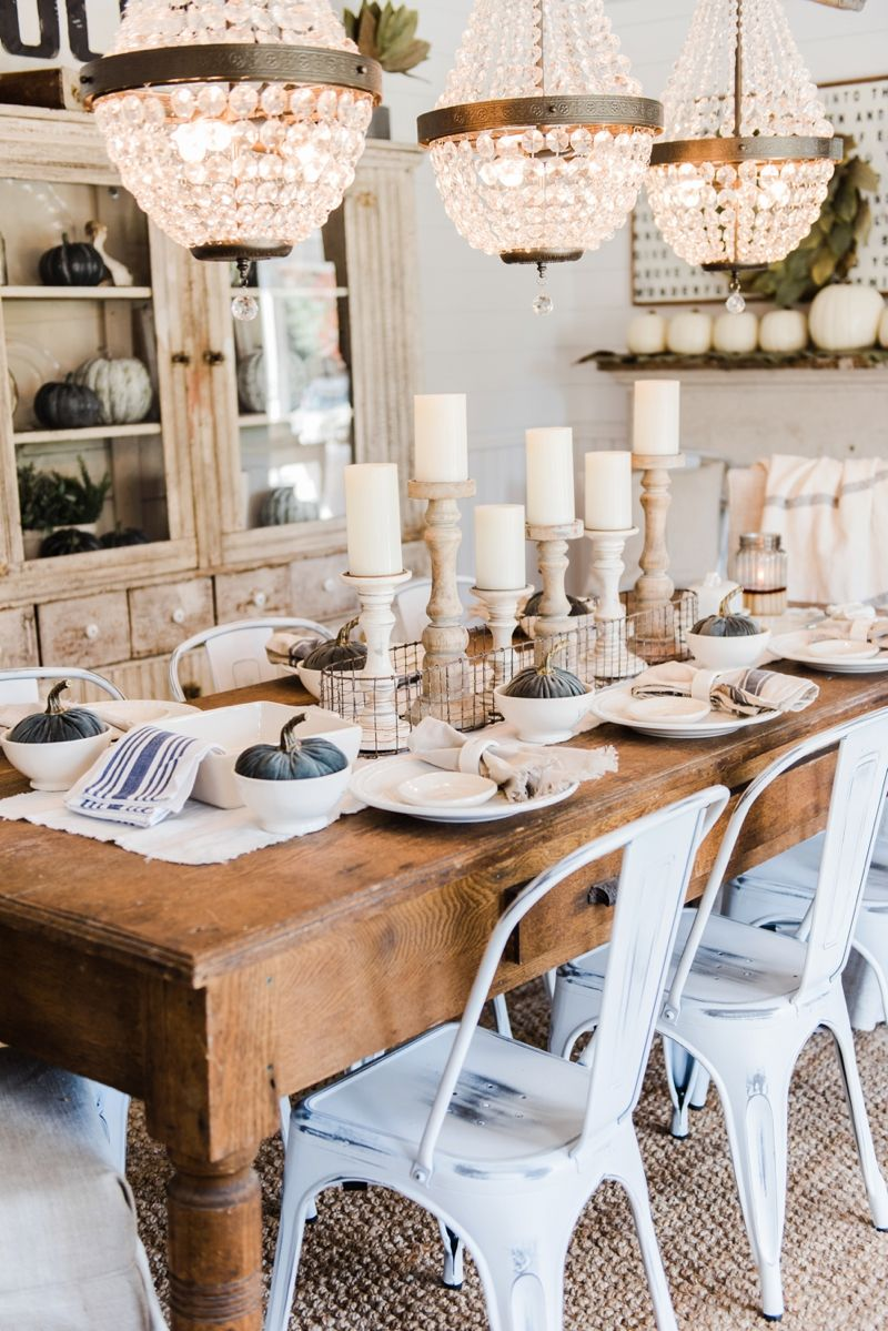 Simple & Neutral Fall Farmhouse Dining Room  Dining Room Table Mesmerizing Farm Style Dining Room Table Design Decoration