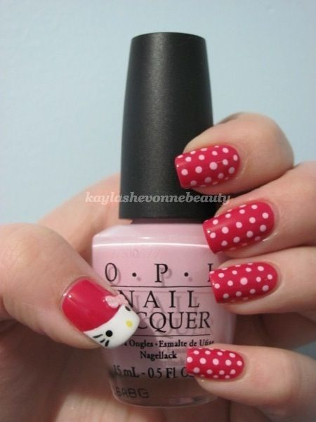 Hello Kitty Nail Art - Cute but use a chemical free and