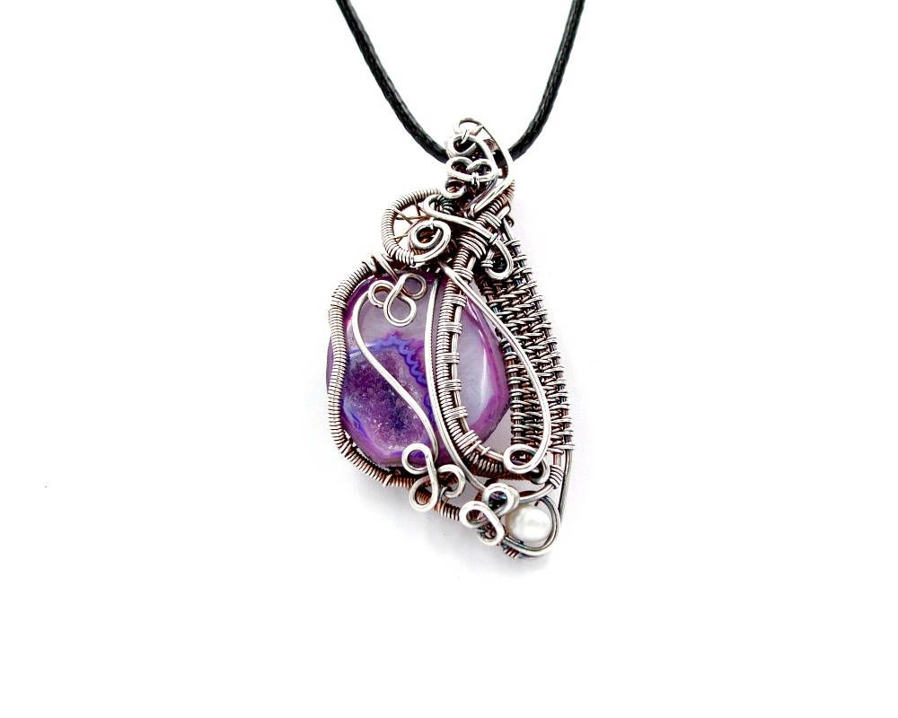 Heady wire wrap, boho purple necklace, best friend gifts by Terlis ...