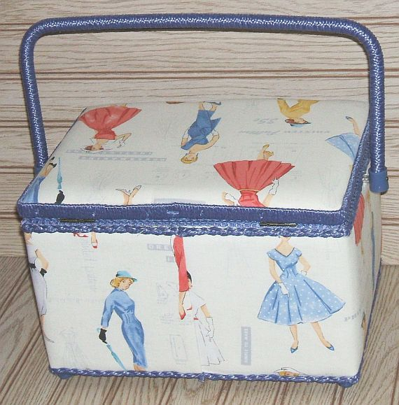 Vintage Sewing Basket with Tray Fabric Covered by WeirdOwlVintage