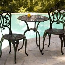 Cast Aluminum Patio Furniture By Beka Lulu Bistro Set Sheridan Nurseries Cast Aluminum Patio Furniture Outdoor Living Decor Outdoor Patio Decor