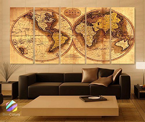 Original by boxcolors xlarge 30x 70 5 panels 30x14 ea art canvas xlarge 5 panels ea art canvas print original world map old vintage rustic wall decor home office interior included framed depth gumiabroncs Choice Image