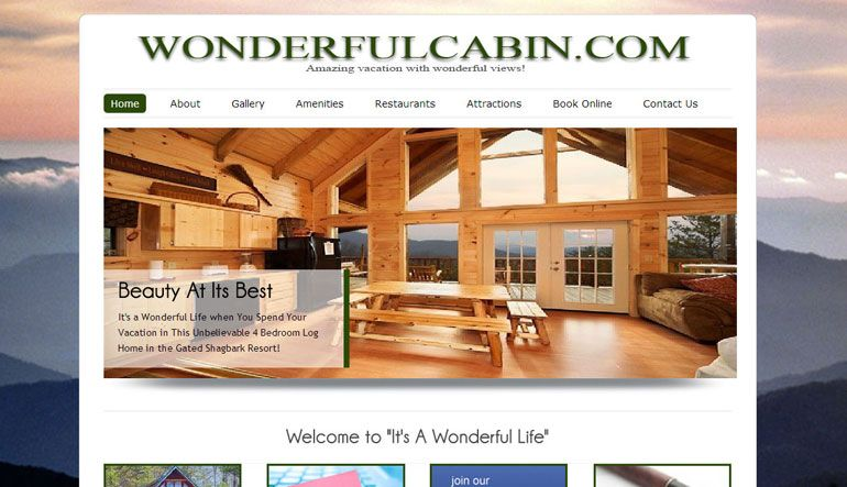 Wonderfulcabin Com Is A Site Build For A Cabin Called It S A Wonderful Life And Is Located In Pig Website Design Services Custom Website Design Website Design