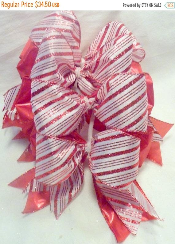 Year end Clearance Red and White tree bows -Ribbon Tree decorations -Red and white bows ...