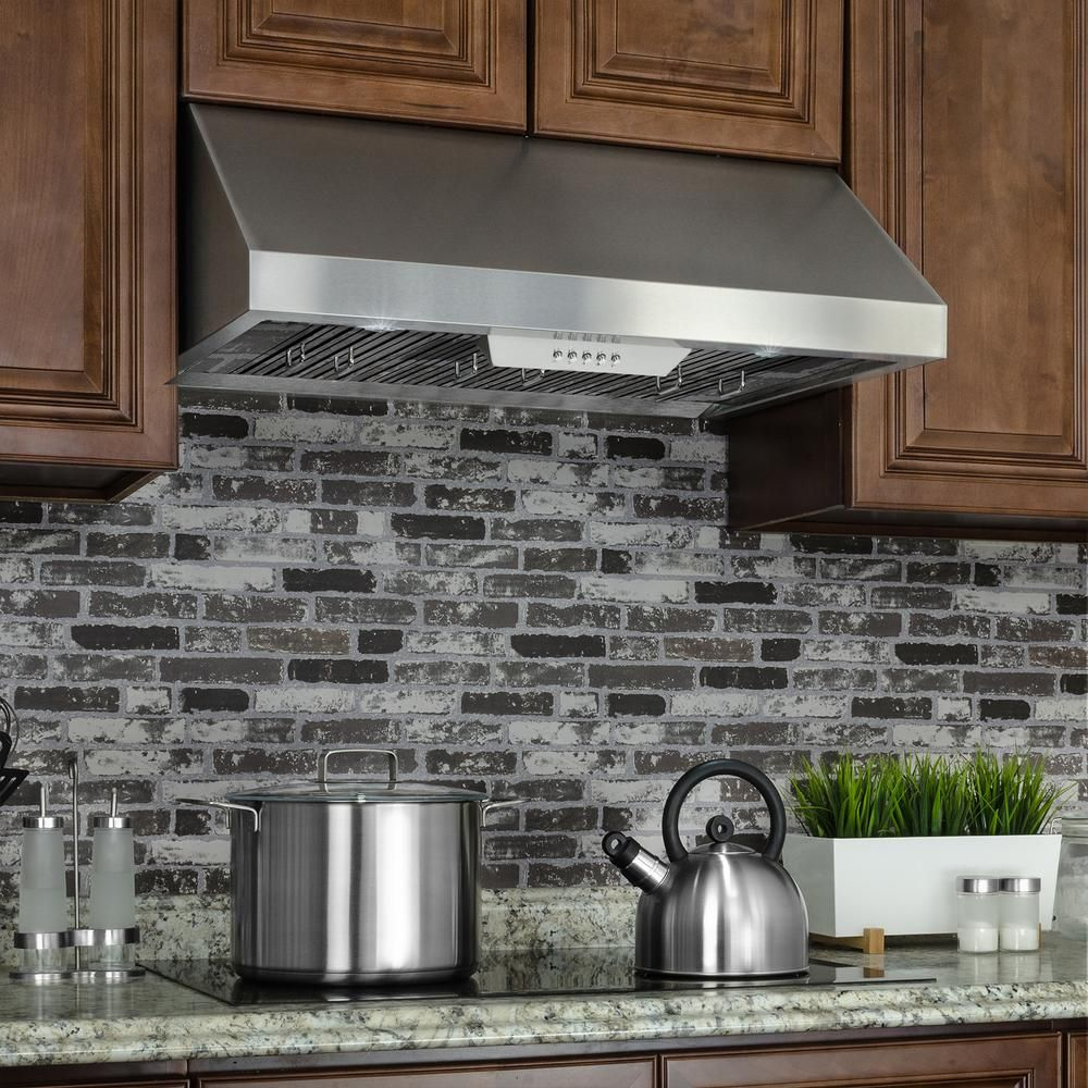 Akdy 36 In Under Cabinet Range Hood In Stainless Steel With Leds And Electronic Push Buttons Rh0330 The Home Depot Range Hood Wall Mount Range Hood Kitchen Range Hood