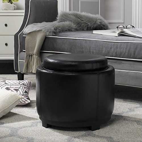 Safavieh Hudson Collection Chloe Leather Single Tray Round Storage Ottoman Black Read More Reviews