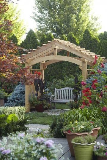 Arbor Ideas Wooden Arbor Over A Bench Gardening