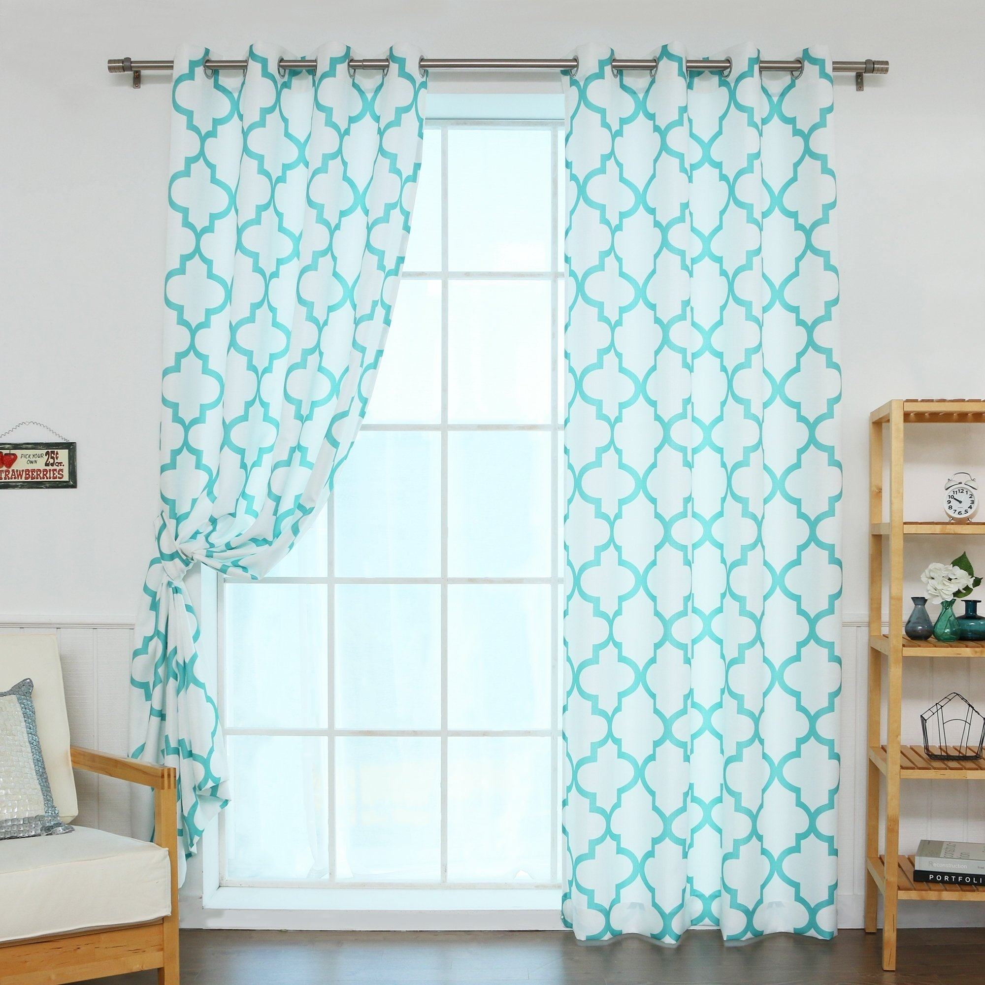 Aurora Home Moroccan Outline Curtain Panel Pair 108 Inches Blue