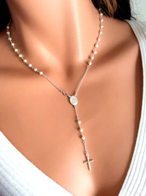 BEST SELLER Pearl Rosary Necklace Women Gold Rosary Necklaces Catholic Jewelry Plain Cross Confirmation Anniversary Gift, Miraculous