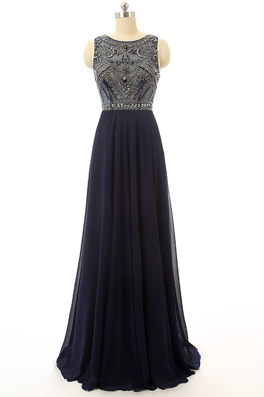 Cheap Prom Dress Navy Blue Beaded Long Graduation Dresses ED