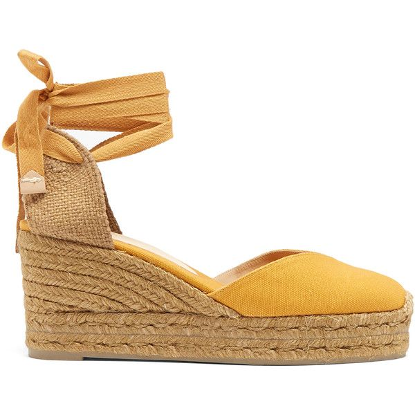 Castañer Chiara canvas wedge espadrilles (£85) ❤ liked on Polyvore featuring shoes, sandals, espadrilles, wedges, dark yellow, ankle tie wedge sandals, wrap sandals, wedge shoes, wedge heel sandals and yellow sandals
