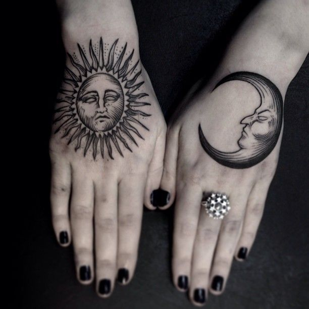 Traditional Sun And Moon Hand Tattoos Jpg 612 612 Hand Tattoos Hand Tattoos For Women Hand Tattoos For Girls