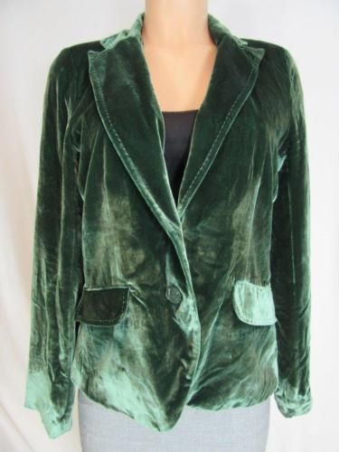 LUCKY-BRAND-Green-Rayon-Silk-Velvet-2-Button-Vneck-Collared-Jacket-Blazer-M