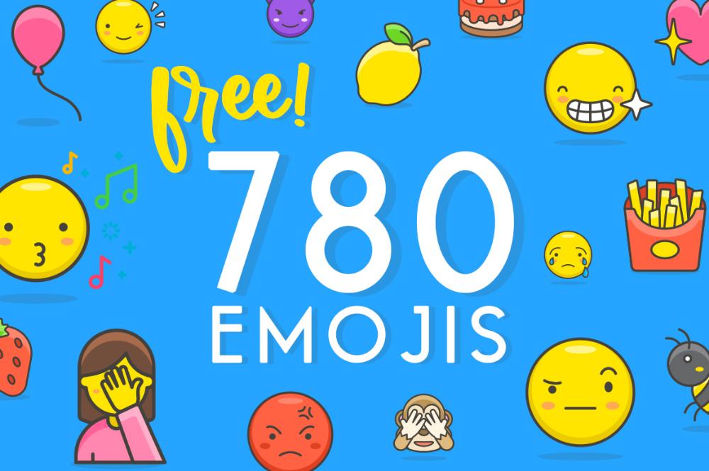 780 Free Emojis (Graphic) by Creative Fabrica Freebies