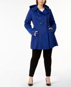 b3bbb63ad Plus Size Waterproof Skirted Trench Coat, Positano Blue | Via Spiga ...